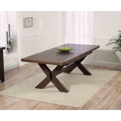 Avignon dark solid oak 200cm extending dining table