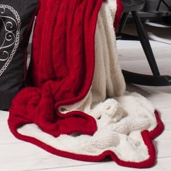 Glencoe red knitted sherpa throw 127 x 170cm