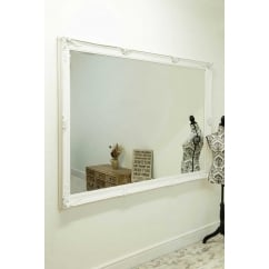 Abbey white ornate mirror, 201 x 140cm