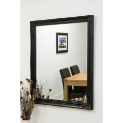 Buxton black ornate mirror 140 x 109cm