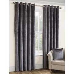 Opulence silver crushed velvet eyelet curtains