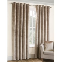 Opulence champagne crushed velvet eyelet curtains