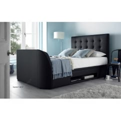 Barnard black madras leather ottoman tv bed