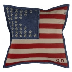 US vintage flag canvas cushion cover, dark denim, 48cm