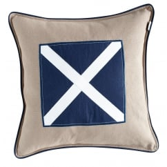 Kudde navy twill cross cushion cover, 48cm