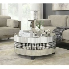 Crystal round 90cm mirror coffee table