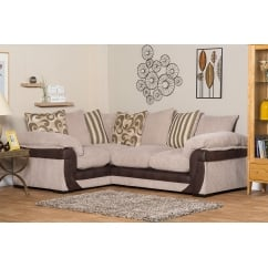 Lola beige corner fabric sofa, right hand