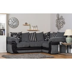 Lola grey corner fabric sofa, right hand