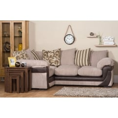Lola beige corner fabric sofa, left hand