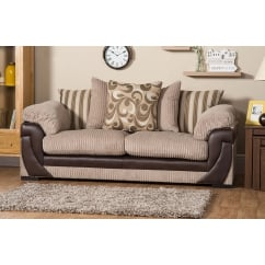 Lola beige 3 seater fabric sofa