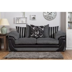 Lola grey 3 seater fabric sofa
