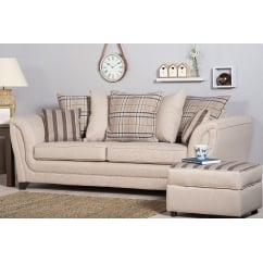 Stanley beige 3 seater fabric sofa