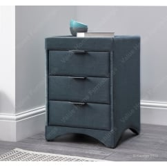 Velvet cliffe mid grey fabric bedside cabinet