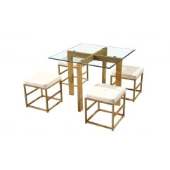 Cube glass spacesaver dining set with cream stools