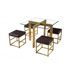 Cube glass spacesaver dining set with brown stools