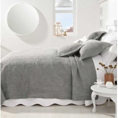 Stonewash grey embroidered bedlinen