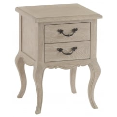 Camille washed oak 2 drawer bedside cabinet