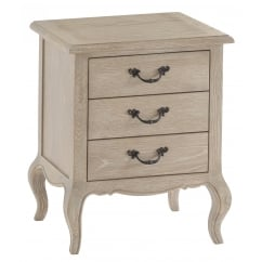Camille washed oak 3 drawer bedside cabinet