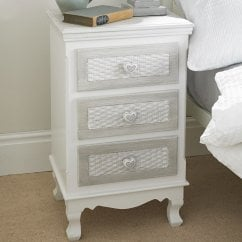 Brittany vintage shabby chic 3 drawer bedside