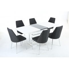 Blanco white gloss dining set with odeon chairs