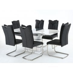 Blanco white gloss dining set with cabana black chairs