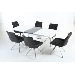 Blanco white gloss dining set with spindle chairs