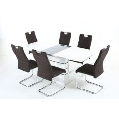 Blanco white gloss dining set with talia black chairs