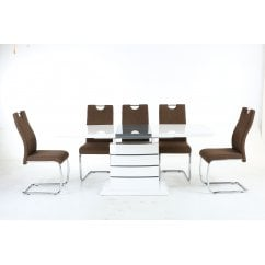 Blanco white gloss dining set with talia cinnamon chairs
