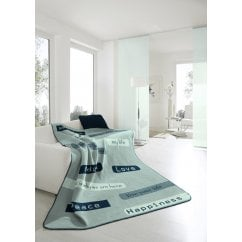 Chill time headline blue jaquard blanket, 150 x 200cm