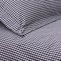 Gingham black cotton duvet set
