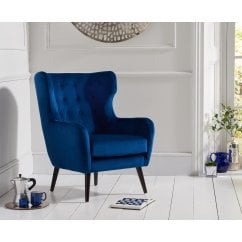 Adrianna blue plush velvet accent chair