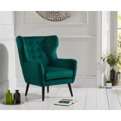 Adrianna green plush velvet accent chair