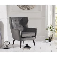 Adrianna grey plush velvet accent chair