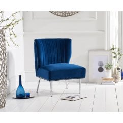 Lara blue plush velvet accent chair