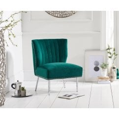 Lara green plush velvet accent chair