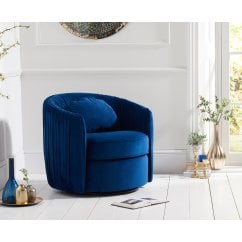 Sarana swivel blue plush velvet accent chair