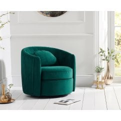 Sarana swivel green plush velvet accent chair
