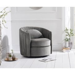 Sarana swivel grey plush velvet accent chair