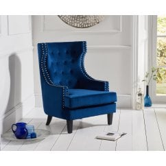 Portia blue plush velvet highback arm chair