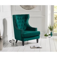 Portia green plush velvet highback arm chair