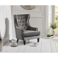 Portia grey plush velvet highback arm chair