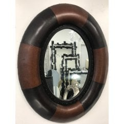 Retro brown oval two tone leather mirror 78cm x 100cm