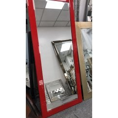 Pimlico red rectangular mirror, 76 x 183cm