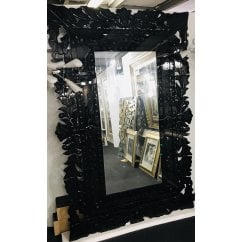 Large heavyweight black floral mirror, 203cm x 138cm