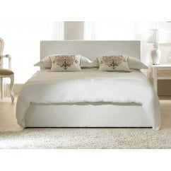 Madrid white ottoman faux leather storage bed