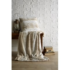 natural snow leopard faux fur throw, 130 x 180cm