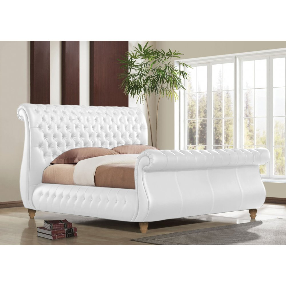 - Time Living Swan White Genuine Leather Sleigh Bed - Time Living