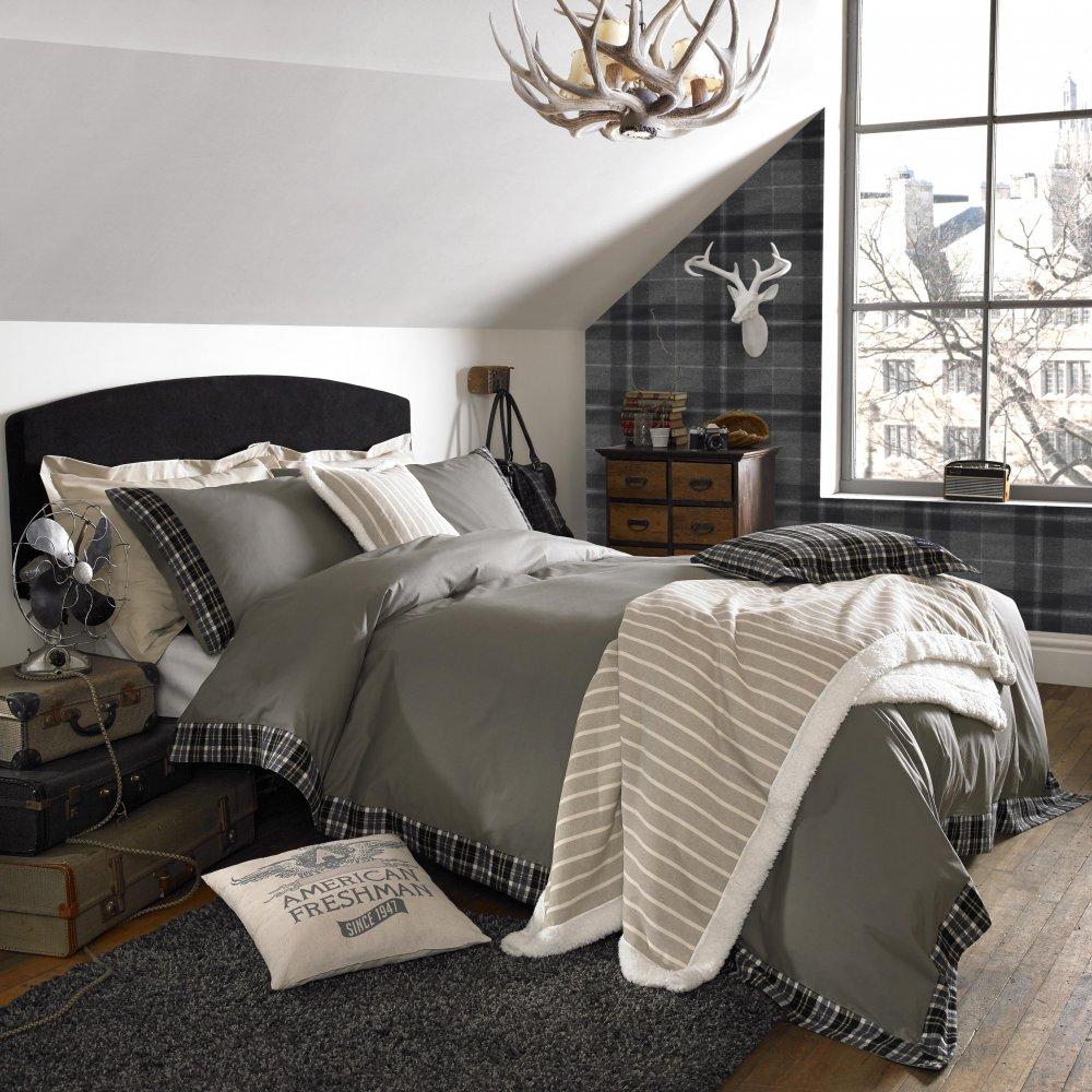 grey tartan wallpaper border