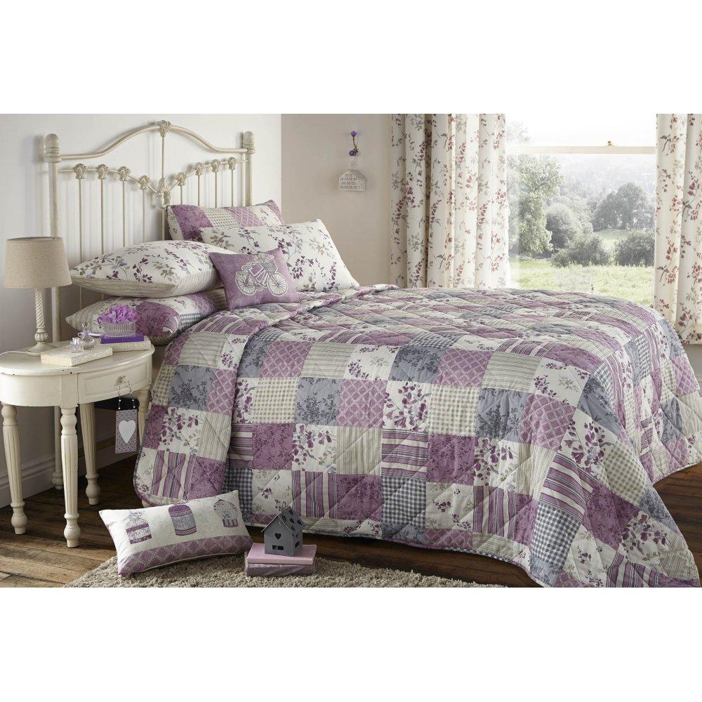 Dreams N Drapes Lila Lilac Heather Vinatge Floral Bedding