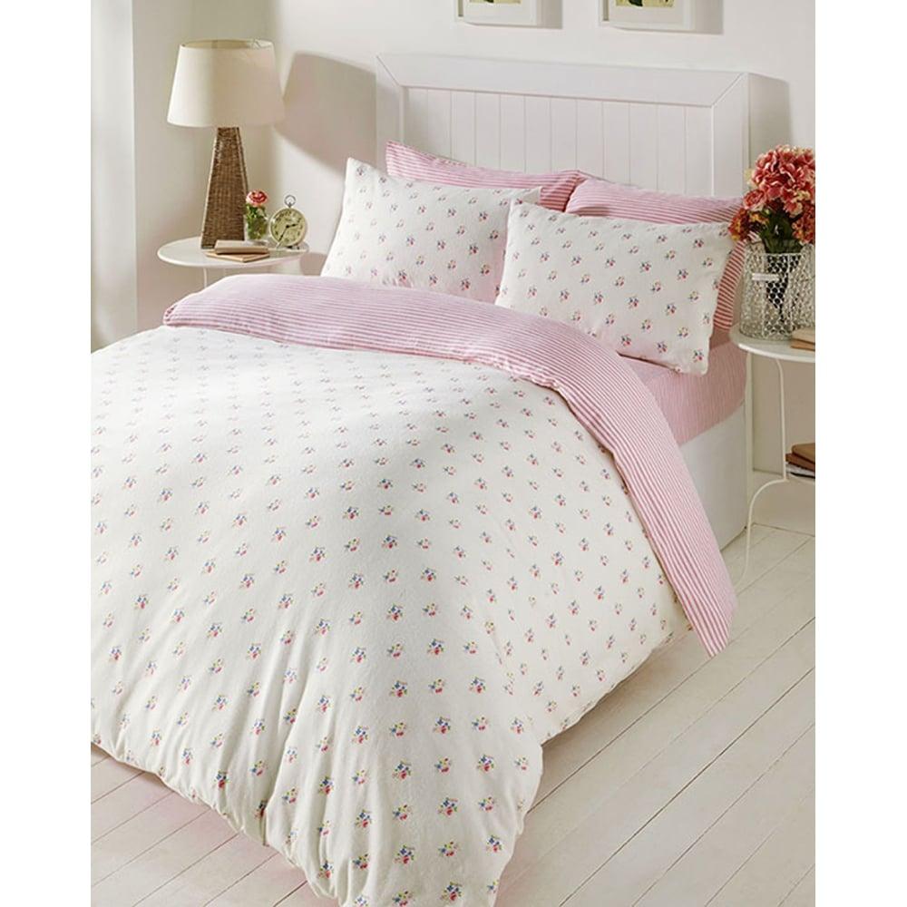 Bedmaker Molly Pink Floral Brushed Cotton Flannelette Duvet Set
